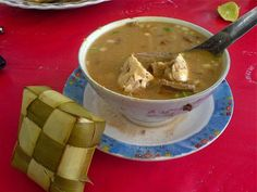 Coto Makassar, a kind of beef soup served with rice cakes specialty of Makassar, South Sulawesi
