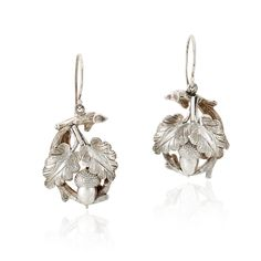 Late Victorian sterling silver acorn earrings, circa 1880