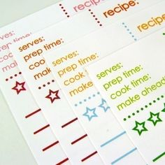 Printable Recipe Cards - Four Color Options Available, $6