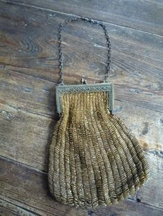 Antique Art Deco Gold Beaded Fringe Purse w/Ornate Brass Frame   #EveningBag