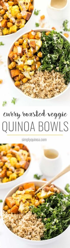 These HEALTHY curry roasted vegetable quinoa bowls are the perfect meal - easy to make, packed with protein, filled with veggies and amazing flavors from the spices! Veggie Quinoa Bowl, Vegetable Quinoa, Vegetable Recipes, Roasted Vegetable Salad, Vegetable Dishes, Lunch Recipes, Breakfast Recipes, Vegetarian Recipes, Cooking Recipes