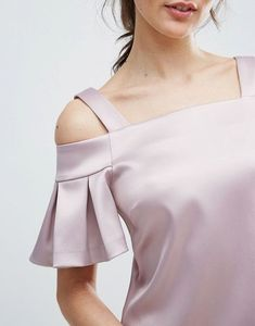 Find the best selection of Closet London Cold Shoulder Mini Dress. Kurti Sleeves Design, Sleeves Designs For Dresses, Kurti Neck Designs, Dress Neck Designs, Fancy Blouse Designs, Saree Blouse Designs, Stylish Blouse Design, Strapless Mini Dress, Designer Dresses