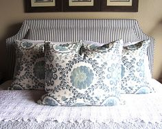 Bundling Up for Snow in the Sierras - Classic Casual Home Bedroom Retreat, Bedroom Bed, Home Decor Bedroom, Design Bedroom, Bed Room, Pillow Headboard, Pillow Fabric, Headboards For Beds, Fabric Headboards