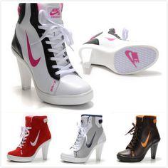 More nike high heels sneaker heels, high heel sneakers, converse high Sneaker High Heels, Nike High Heels, High Heel Boots, Heeled Boots, Shoe Boots, Converse High, Converse Sneakers, Jordan Heels, Cute Shoes