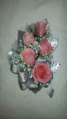 Pink and silver corsage