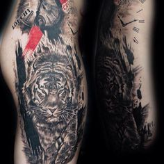 Nice trash polka inspired tiger thigh tattoo by @ michi.tattoo