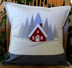 Christmas Projects, Christmas Decor, Pillow Pals, Red Cottage, Christmas Applique, Grey Quilt, House Quilts, Handmade Pillow Covers, Gray Bedroom