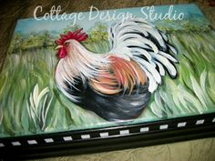 kitchen decor silverware box rooster by CottageDesignStudio