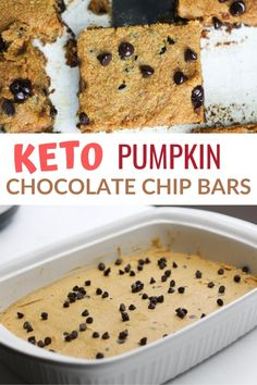 Easy to make low carb gluten free pumpkin bars with chocolate chips that have no sugar added. They're so good even the kids love them. Low Carb Chocolate Mousse, Low Carb Chocolate Chip Cookies, Chocolate Chip Bars, Chocolate Mug Cakes, Pumpkin Chocolate Chips, Chocolate Chip Recipes, Keto Cookies, Low Carb Sweets, Low Carb Desserts