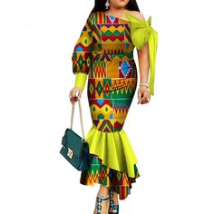 Dashiki African Clothing For Women Party Long Dress Natural Dashiki Cotton Wax African Inspired Fashion, Latest African Fashion Dresses, African Dresses For Women, African Print Fashion, African Attire, African Wear, African Women, African Style, African Design