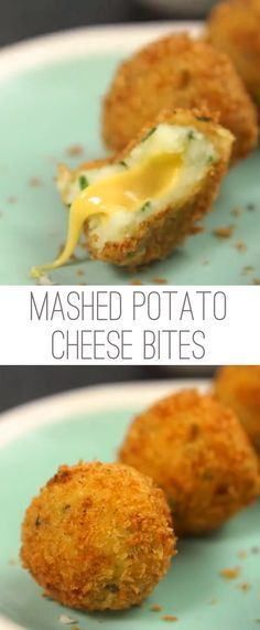 Mashed Potato Cheese Bites Recipe | Mashed potatoes with a gooey cheese center How To Fry Potatoes, Healthy Mashed Potatoes, Recipes For Potatoes, Mashed Potato Recipes, Mashed Potato Bombs, Cheese Mashed Potatoes, Little Potatoes, Deep Fried Potatoes, Fried Potatoes Recipe