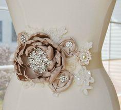 Taupe Blush and Ivory Bridal Sash - Vintage Lace Flower Bridal Wedding Belt - READY TO SHIP. $125.00, via Etsy.