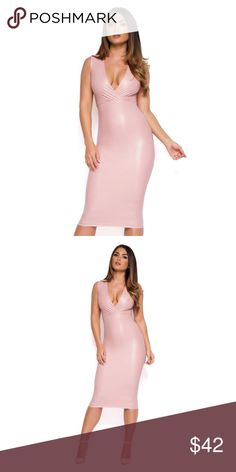 Skin tight sexy light pink dress Light pink, PVC material hugs curves beautifully. This was out of my usual size in S, so I ordered a M hoping it would work :(. Fits true to size and would best fit a true M Dresses Midi