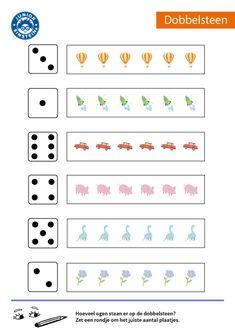 Hoeveel stippen staan er op de dobbelsteen? Ken jij deze patronen al uit jouw hoofd? Zet een rondje om hetzelfde aantal plaatjes. Met dit werkblad oefen je het herkennen van de patronen op de dobbelsteen, zodat je deze structuur uit jouw hoofd kent. Dit maakt het maken van echte sommetjes steeds makkelijker. Download alle werkbladen over het herkennen van de dobbelsteenstructuur en word een kei in rekenen! English Activities, Learning Activities, Kids Learning, Number Games, School Readiness, Math Worksheets, Kindergarten Math, My Job, Einstein