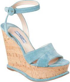 Prada Suede Ankle Strap Wedge (blue/cork, 2013)
