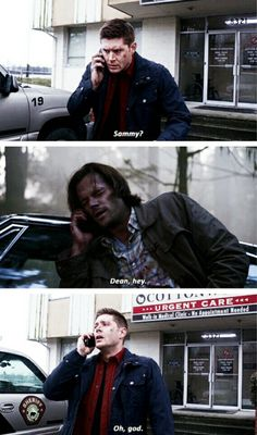 Supernatural Season 11x17 Red Meat. They were so relieved to hear each other's voices.