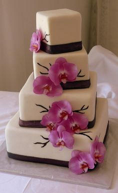 Cascading Orchids Wedding Cake