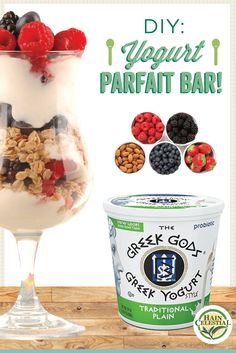 Weekend brunch idea: create your own yogurt parfait bar with Chuah Greek Gods Yogurt and your favorite toppings! Add in some Arrowhead Mills Steel Cut Oats for a delicious topping! Yogurt Parfait Bar, Plain Greek Yogurt, Greek Gods, Recipe Of The Day, Your Favorite, Brunch, Snacks, Meals, Steel