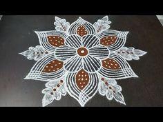 Friday Kolam | Flower Kolam|Padi Kolam| Adventure Kolam - YouTube Indian Rangoli Designs, Simple Rangoli Designs Images, Rangoli Designs Flower, Rangoli Patterns, Rangoli Designs With Dots, Flower Rangoli, Rangoli With Dots, Beautiful Rangoli Designs, Easy Rangoli