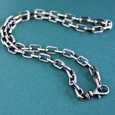 Men's Large Link, Square Wire Chain Necklace