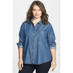 Plus size denim shirt long