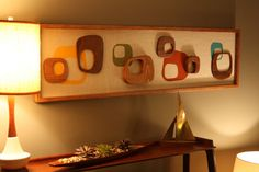 wood and linen fabric wall piece