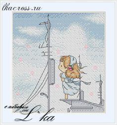 """Схема для вышивки крестом. Cross stitch pattern. """"Нежные иллюстрации - На пристани"""""""