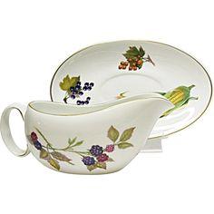 Royal Worcester - Evesham Gold - Fine Porcelain - Gravy Boat Server and Under Plate -- found at www.rubylane.com #vintagebeginshere #thanksgiving