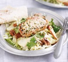 Lemon and thyme pork with cabbage salad - Healthy Food Guide Healthy Salads, Healthy Food, Yummy Food, Healthy Recipes, Pork And Cabbage, Cabbage Salad, Healthy Anzac Biscuits, Grilled Eggplant, Cooking Light