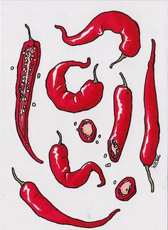 CLEARANCE** Small Illustration Red Chillis (original art, kitchen art, kitchen wall. spice illustration, chili, markers, seeds, spicy, hot)