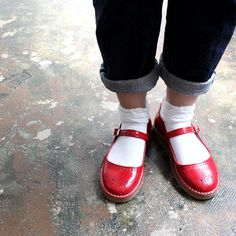 Red leather Mary Janes