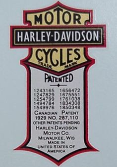 Always loved this Harley shield/patent emblem, looked good on the old horseshoe oil tanks