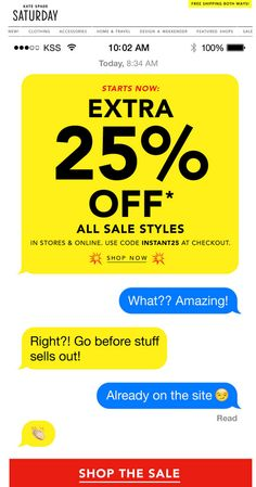 brilliant email design by Kate Spade Saturday