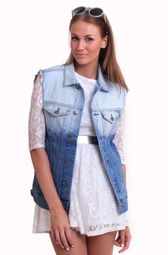 Just Female - Man Denim Vest Bleached Dip Dye, Boyfriend, Vest, Female, Denim, Jackets, Clothes, Fashion, Down Jackets