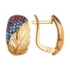 Серьги из золота с голубыми и розовыми фианитами