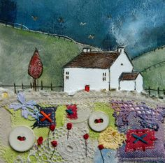 'Dusk on quilted meadow' By Louise O'Hara of DrawntoStitch www.facebook.com/DrawntoStitch