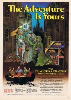 Dungeons And Dragons Fantasy Adventure Game 1982 Original Paper Advertisement Dungeons And Dragons Art, Advanced Dungeons And Dragons, Mazes And Monsters, Pen And Paper Games, Last Game, Adventure Games, Fantasy Rpg, Video Game Art, Funny Games