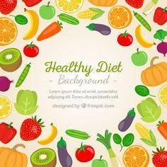 Fondo de verduras y frutas Vector Gratis
