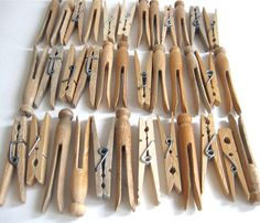36 vintage wood clothespins variety of clothes by anythinggoeshere, $12.00
