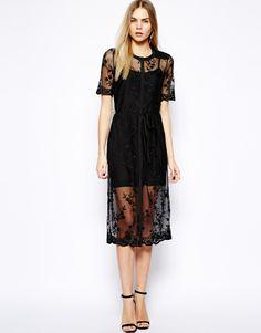 Warehouse Embroidered Mesh Midi Dress
