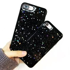 For iPhone 7 Plus Case Shockproof Bright Jet Black Back Cover Soft Silicone Rubber TPU Bling Glitter Cases For iPhone 6 6s Plus #iphone6splus, #iphone6spluscase,