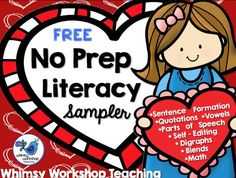 This is a sampler containing a collection of FREE pages from my best selling literacy printables!  Whimsy Workshop Teaching