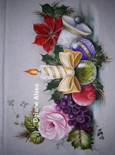 Pintura en tela Christmas Flowers, Christmas Signs, Christmas Pictures, Christmas Art, Vintage Christmas, Free Kids Coloring Pages, Fabric Paint Designs, Tole Painting Patterns, Alcohol Ink Crafts