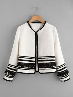 """HOT PRICES FROM ALI - Buy """"Sheinside White Pearl & Fringe Tape Embellished Tweed Blazer Collarless Tassel Fitted 2017 Winter Women Workwear Elegant Blazer"""" from category """"Women's Clothing & Accessories"""" for only USD. Tweed Blazer, Tweed Jacket, Tweed Coat, Diy Fashion, Fashion Dresses, Womens Fashion, Refashion, Blouse Designs, Mantel"""