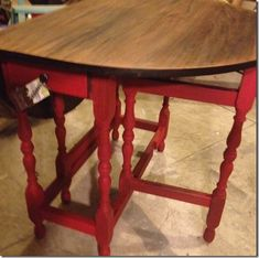 Gateleg table gets an update with red chalk paint and a renewed top.