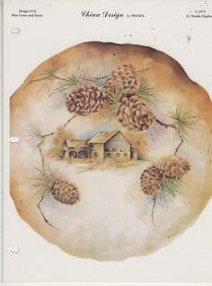 Pine Cones and Scene by Wanda Clapham China Painting Study 1975 | eBay