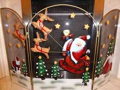Santa fire guard Christmas decoration
