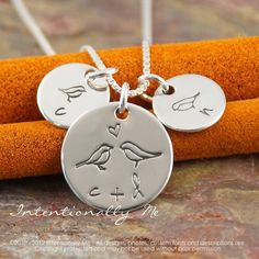 Hand Stamped Mommy Necklace -  Personalized Sterling Silver Jewelry - All Together (Necklace with kids initials). $44.00, via Etsy.