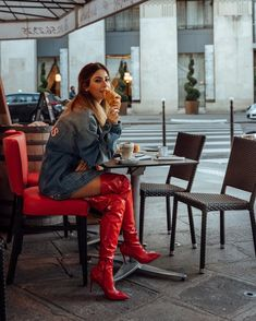 Red patent thigh high boots Source by Red Knee High Boots, High Leather Boots, Red Boots, Look Fashion, Fashion Boots, Crotch Boots, Hot High Heels, Thigh Highs, Balenciaga Boots