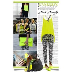 Meredith Wendell - Bold Beauty by e-daniels on Polyvore featuring polyvore fashion style Mason by Michelle Mason Bardot Meredith Wendell Natalia Brilli Chloé Yves Saint Laurent J.A.K. ELSE statement necklaces neon lime green circle canvas handbag meredith wendell printed pants flats